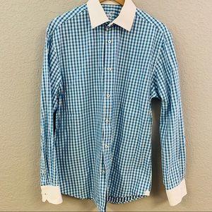 Bugatchi Blue Gingham dress Shirt 16.5